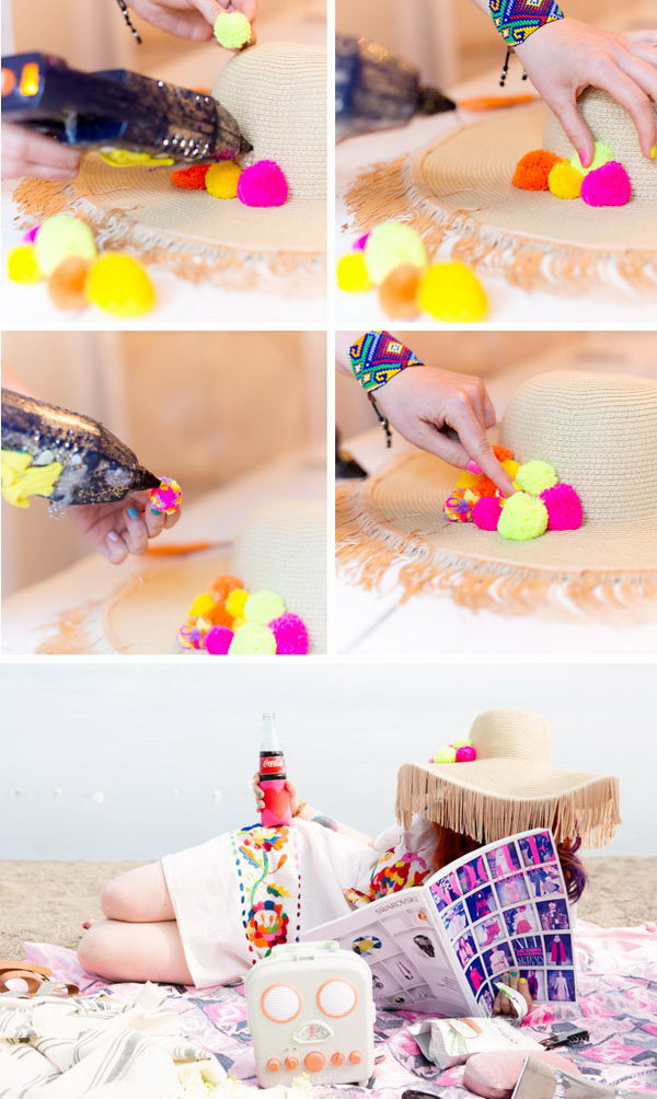 DIY Tassel Brimmed Floppy Hat. This tassel brimmed floppy hat can easily dress up any casual outfit. Check out the tutorial of this gorgeous floppy hat here.