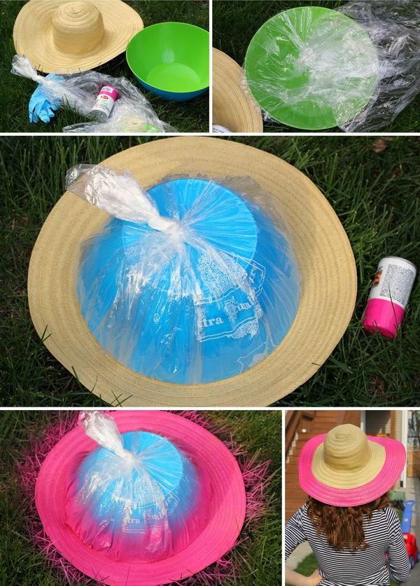 DIY Straw Wide Brim Floppy Hat Tutorial.