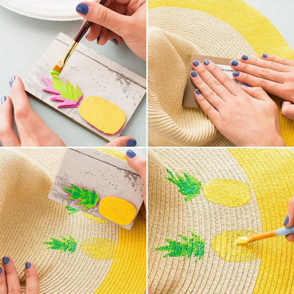 DIY Printed Pineapple Floppy Hat. Super cute sun hat with pineapple print all over. Perfect for the beach! See the how to here.