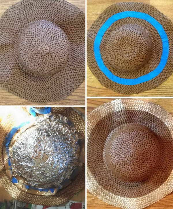 Golden Spray Hat Refashion. Sunny days call for a big hat to keep the harmful rays at bay! This floppy straw hat, complete with a wide golden brim, will do just the trick. See the tutorial here.