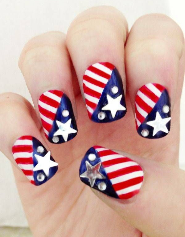 Metallic Stars and Dots Accent Manicure: Inspired by U.S.A flag, between blue white and red and use stickers and sequins, this 4th of July nail art really looks fantastic.