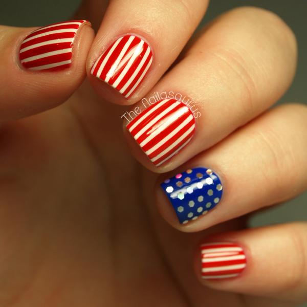 Stars and Dots Nail Art: If you're feeling so much of the stars and stripes nail design and want to make something different. You can use dots to show the galaxy in stead of the stars. And the result looks really fancy. Head over to see the full tutorial here.