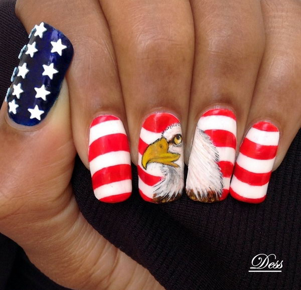 American Eagle, Stars and Stripes 4th of July Nail Art: Play with the country's symbol such American eagle is a great way to both reflect the American spirit and stay cool. See the tutorial here.