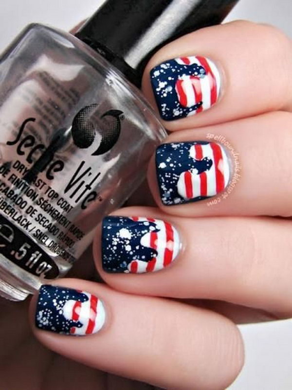 Patriotic Drip, Stars and stripes Nail Art: Freehand stripes on white base coat, and paint the top navy bluein free shape. Then stamp sequins on the navy  blue base. The glitter topcoat really makes the whole thing pop. See the tutorial here.