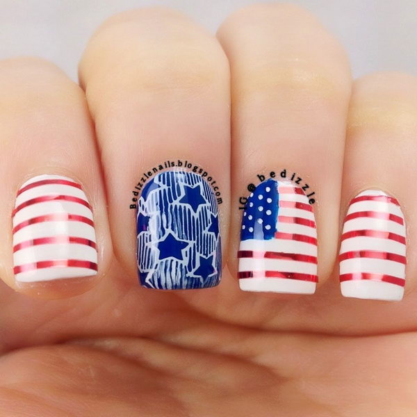 American Flag inspired Short Nails: This July 4th Nail is a clean, fancy way to rock your country's colors. Show off your patriotic pride with this America flag nail.