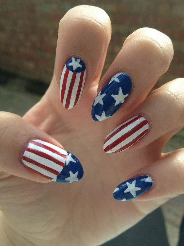 Classic Flag Stiletto Nails Design: When in doubt, try not to be discouraged. Go for a classic flag design just like these talon like nails. They are surely to rock your look.