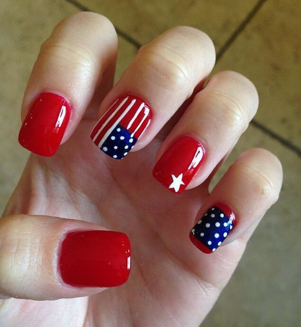 American Flag inspired Nail Art on Red Basecoats: To show your bloody pride, what is better color than red. Using a nail brush to add star, stripes and polka dots to the red base is the perfect way to keep your patriotism looking pretty!