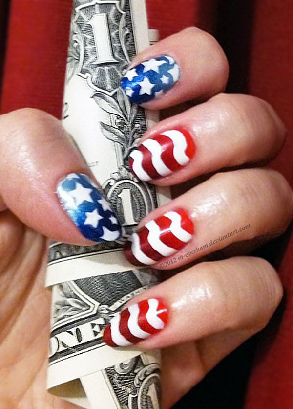 Patriotic Stars and Stripes Nail Art: Draw stenciled stars on blue gradient; freehand stripes on red gradient. The subtle gradient really boost the whole look.