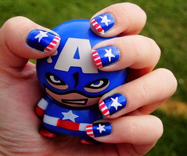 Patriotic Captain America Nails