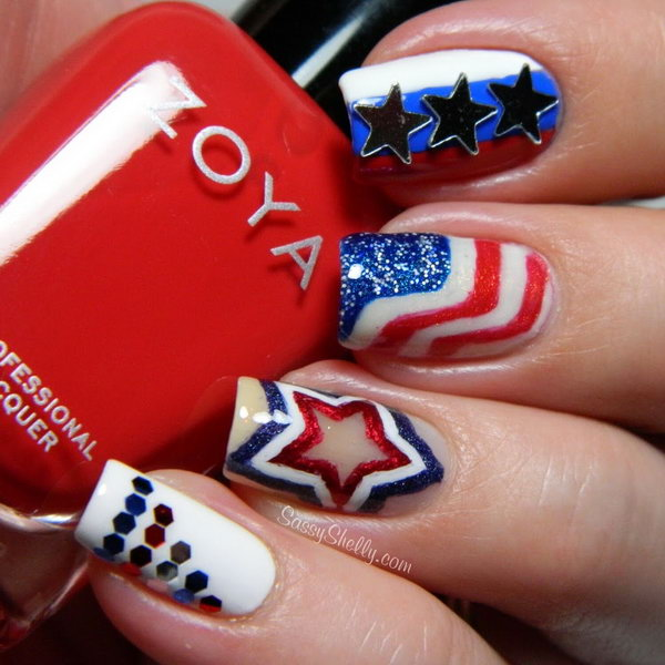 Patriotic All Accent American Flag Nails: Every single detail of this great nail is impressive. What gives this nail art a festive looking is the adding of some glitter polish, rhinestones, and some nails stamps.