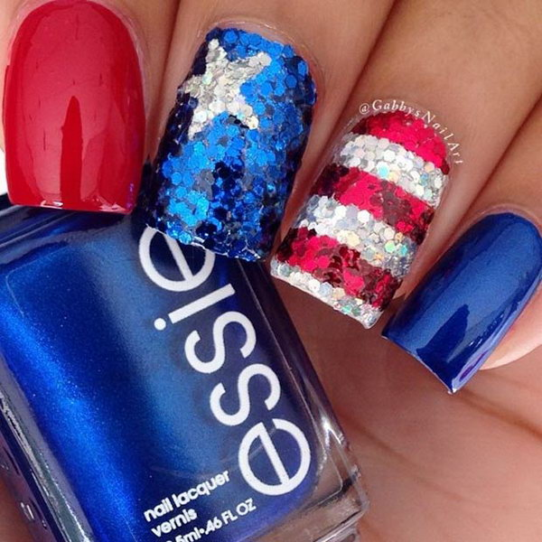 American Flag Inspired Sequin Nails