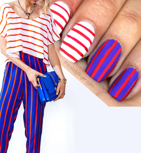 Patriotic Stripes Nails: This Rebecca Minkoff inspired red, white, and blue nail art is very easy to recreate. And it speaks perfectly to the upcoming particular American holiday of ours. What's more, I love that it'll be just as cute when the holiday is over. See the tutorial here.