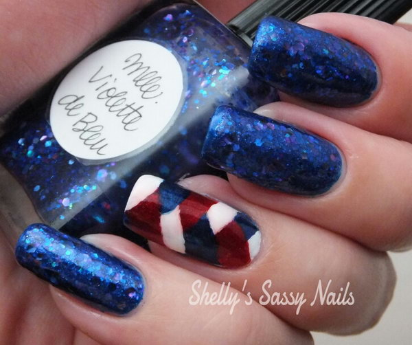 Patriotci Stripes White Blue and Red Nail Art: This is just a fun and different design to show some love on the Fourth of July. See the tutorial here.