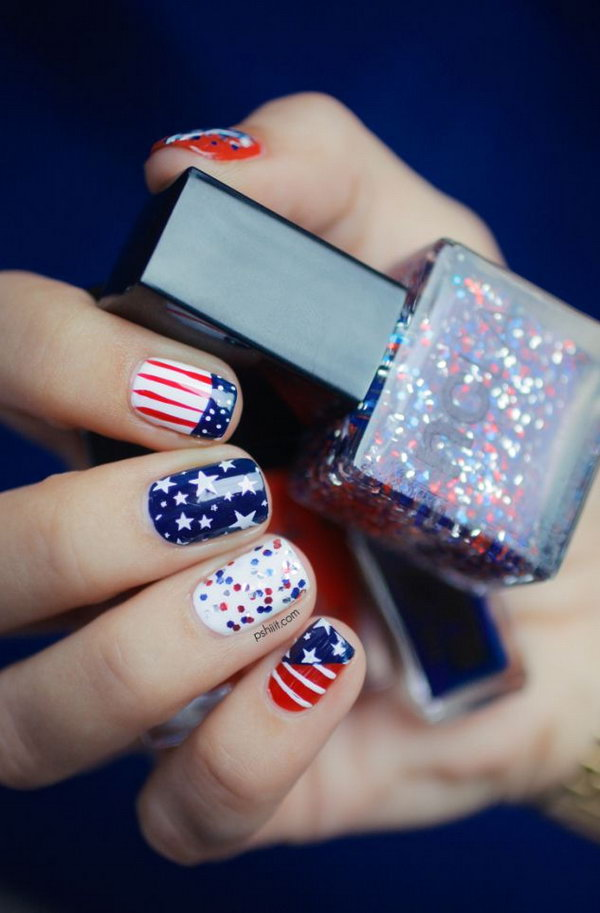 American Flag Nail Art: If you would not make stripes on all of your nails, because it would be too much, and you want to make something that is a little funny. Please try this one. Have a look at the tutorial here.