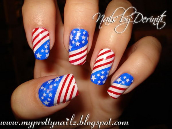 Patriotic Nail Art: With their color scheme and the subtle gradient, you can create a great 4th of July nails look that is all you, but totally shows your spirit. See the tutorial here.