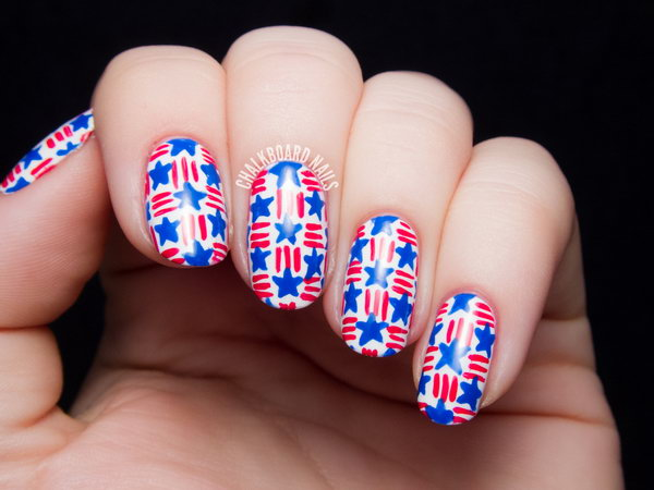 Stenciled Star Nail Art: This is such a cute and trendy design to show your USA pride in the patriotic color red white and blue. See the tutorial here.