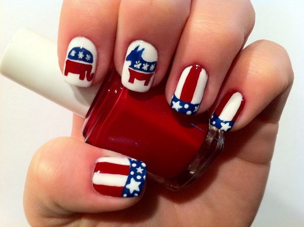 4th of July Cute Animal Nails