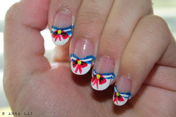 Patriotic Sailor Nail Art
