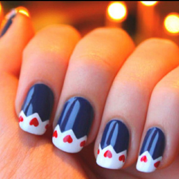 4th of July Patriotic Heart Nail Art