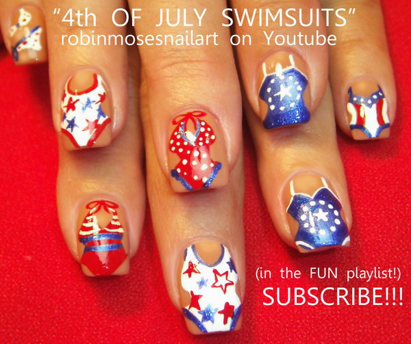 Patriotic Swim Suit Nail Art