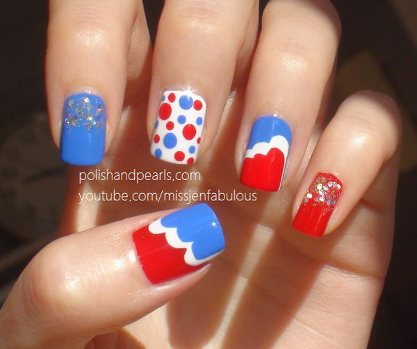 Patriotic Cute Dots Nail Art