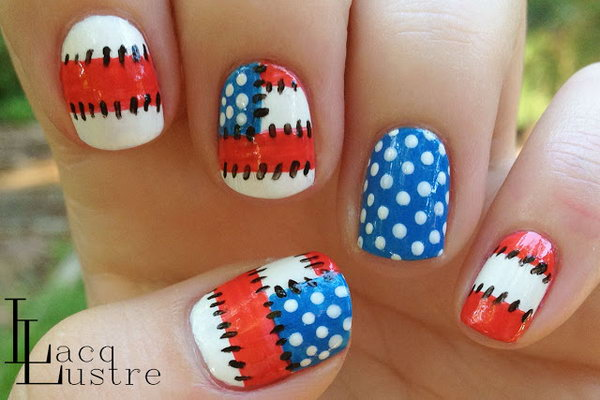 4th of July Patriotic Patchwork Nail Art