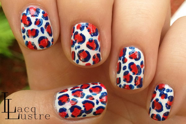 Patriotic Leopard Blue White and Red Nail Art
