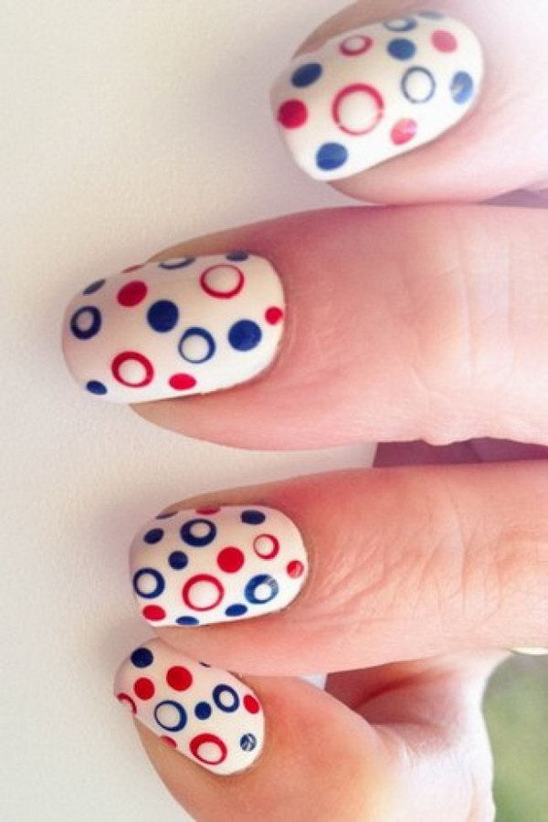 Patriotic Cute Circles and Dots Nail Art
