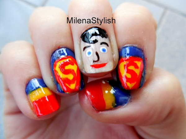 Patriotic Superman Nail Art