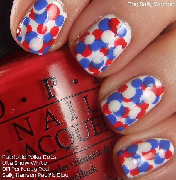 Patriotic Polka Dots Nail Art