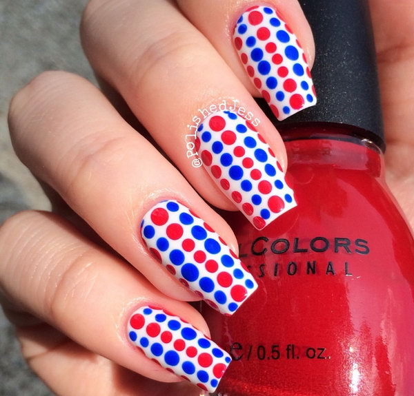 Patriotic Cute Dots Long Nails Design