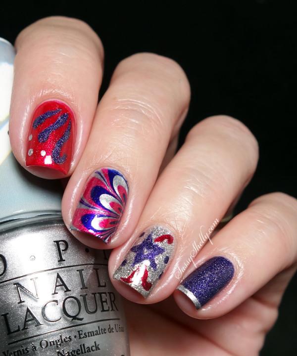 Patriotic Glitter Explosive Nail Art