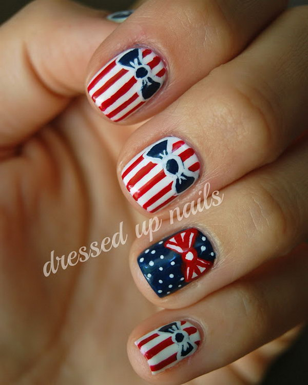 4th of July Patriotic Pretty Bow Nail Art.