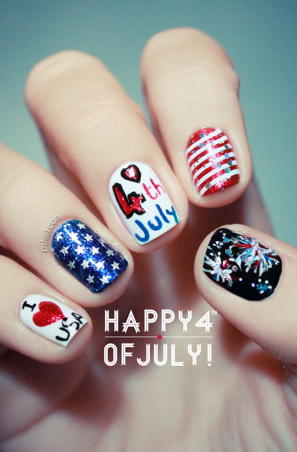 4th of July Cute Heart Nails.