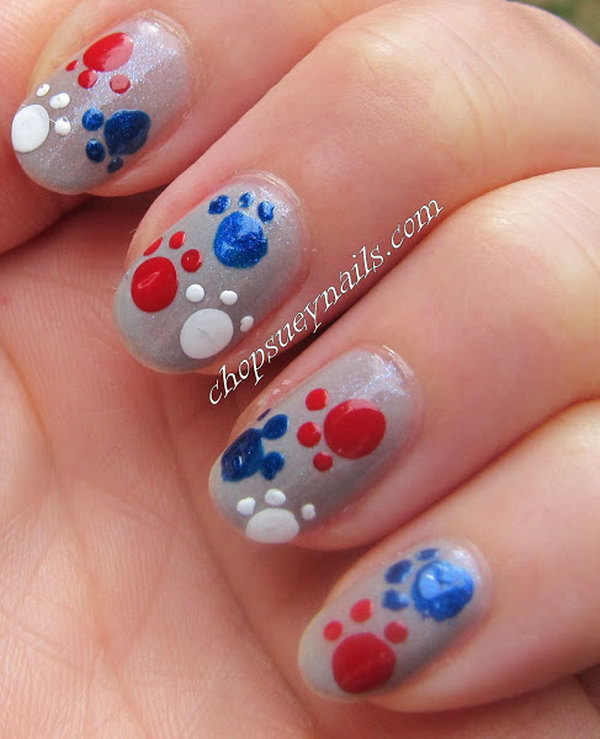 Red, White and Blue Paw Print Nails.