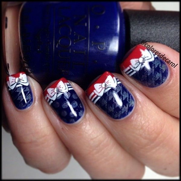36 cute 4th of july patriotic nail art ideas july 4th patriotic bow french nail design prinsesfo Choice Image