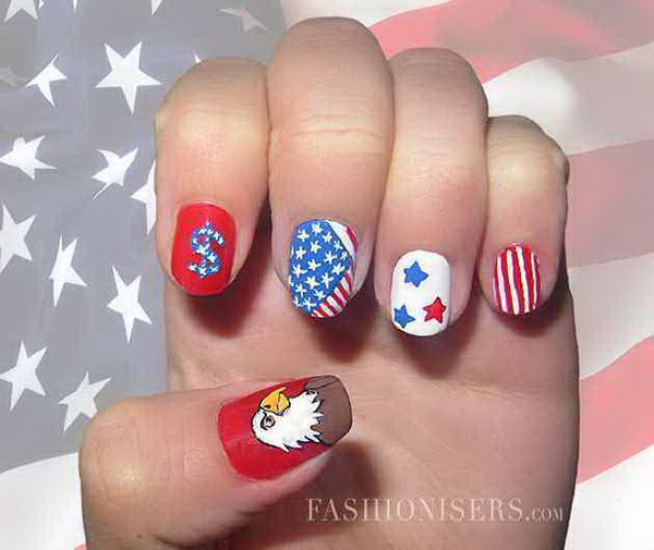 Patriotic American Eagle and Dollar Accent Nails