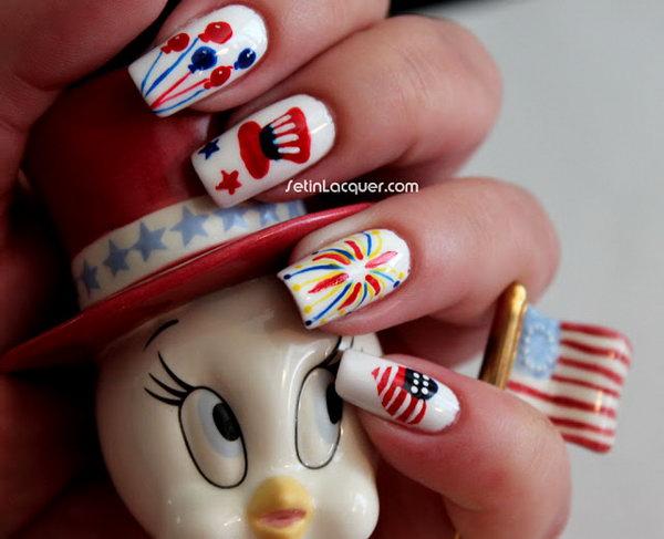 Patriotic Cute Firework Manicure