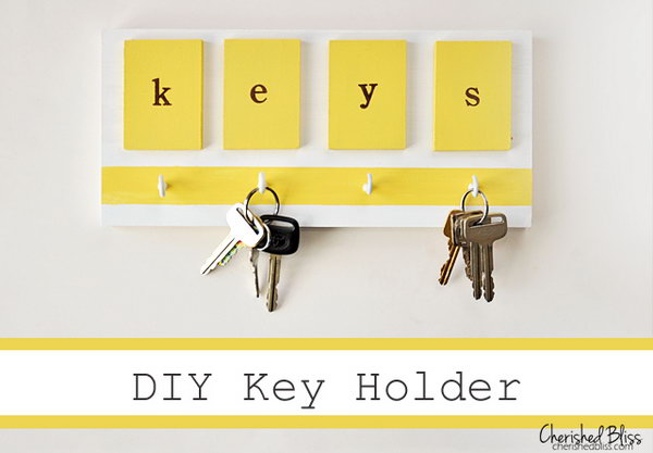 Simple Bright Key Holder. The color combination of bright yellow and white adds more warmth and comfy to this piece of wall. Not only a useful key holder but also a beautiful addition to home decor. See directions