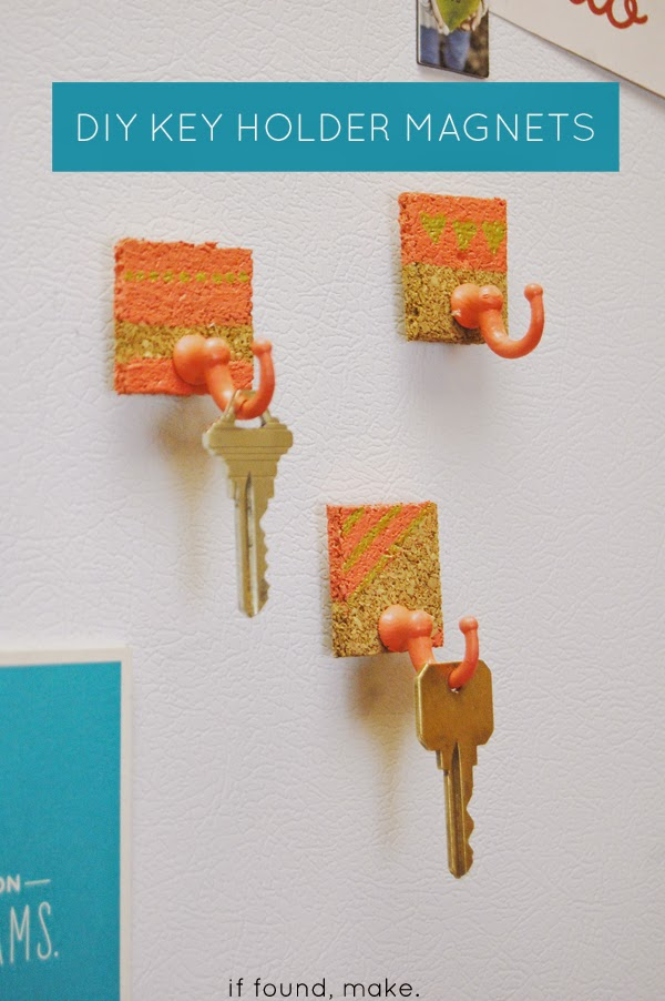 Fridge Magnet Key Holder.  Glue and glue gun, magnets, flexible cork, masking tape, paint, and key hooks are all you need to create this project.  Check out for more instructions