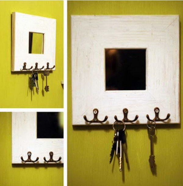 Mirror Key Holder. Make use of a small mirror to change the old and boring look of a wood board key holder. Now you can enjoy a beautiful mirror in your hallway combined with a functional key holder. See tutorials