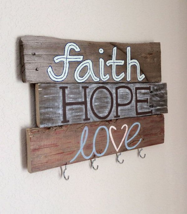 Homemade Wood Key Holder. Add a homemade and rustic touch to your home decor with this painted key holder. Faith, Hope, Love key holder for a warming home.