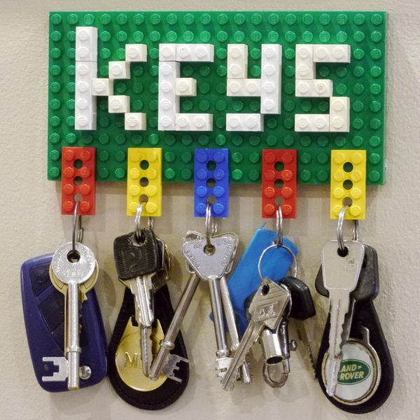 Lego Key Holder. This is one of the simplest and also coolest DIY key holders I've seen so far. All you need are a couple of Lego pieces to create your own customizable Lego key holder with an amazing visual effect.