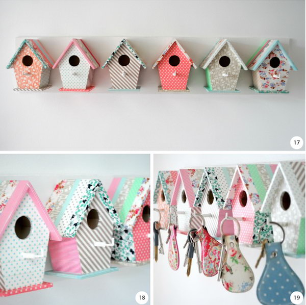Unusual Bird House Key Holder. If you want to add more girl touch to you key holder, you are right here. This key holder looks so pretty colored with a sweet touch. The bird houses are covered in masking tape with various patterns and colors.  It looks great near the front door. Get tutorials