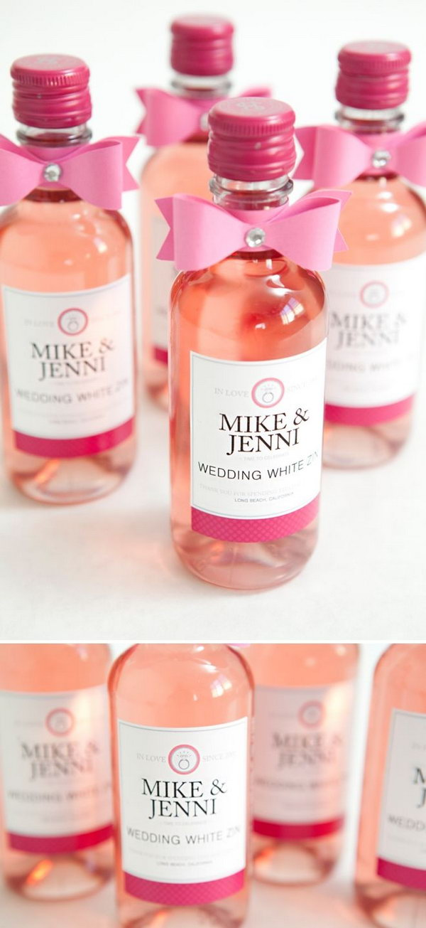 DIY mini wine bottle wedding favors with FREE label downloads