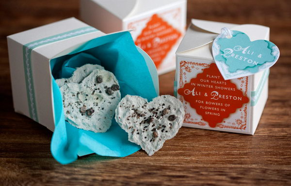 Use Egg carton and Seeds to Make Plantable Paper Heart Favors