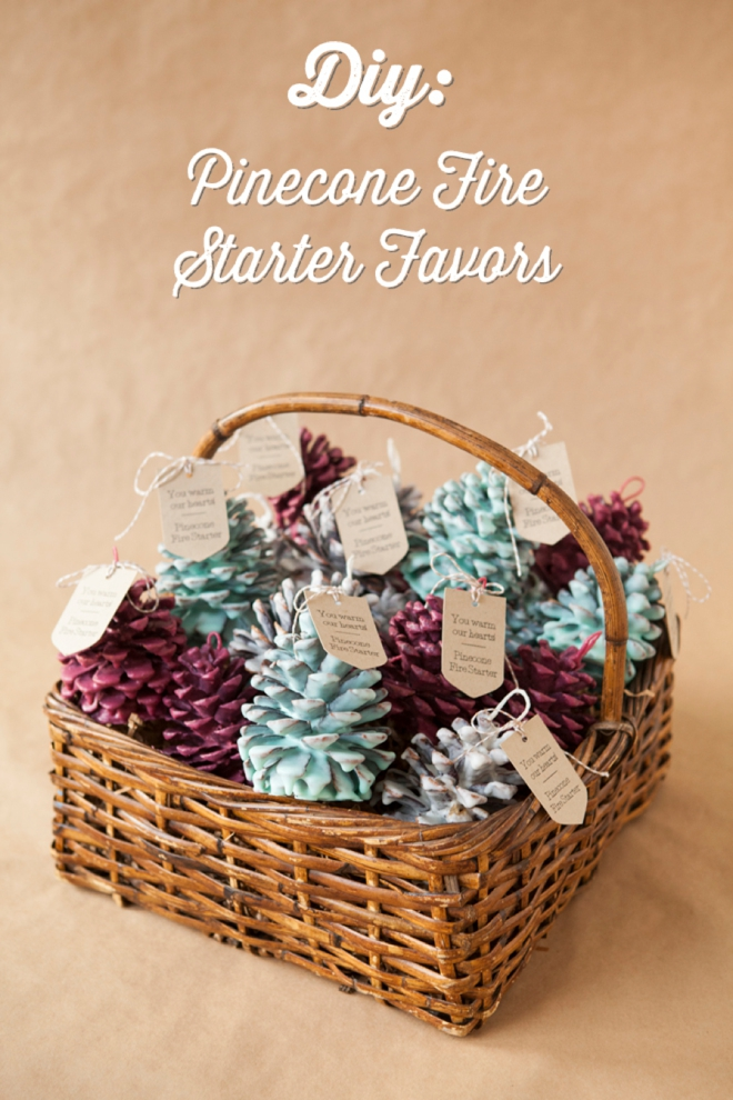 DIY Pinecone Fire Starter Favors. Another fabulous favor idea for any winter wedding or your bridal party!