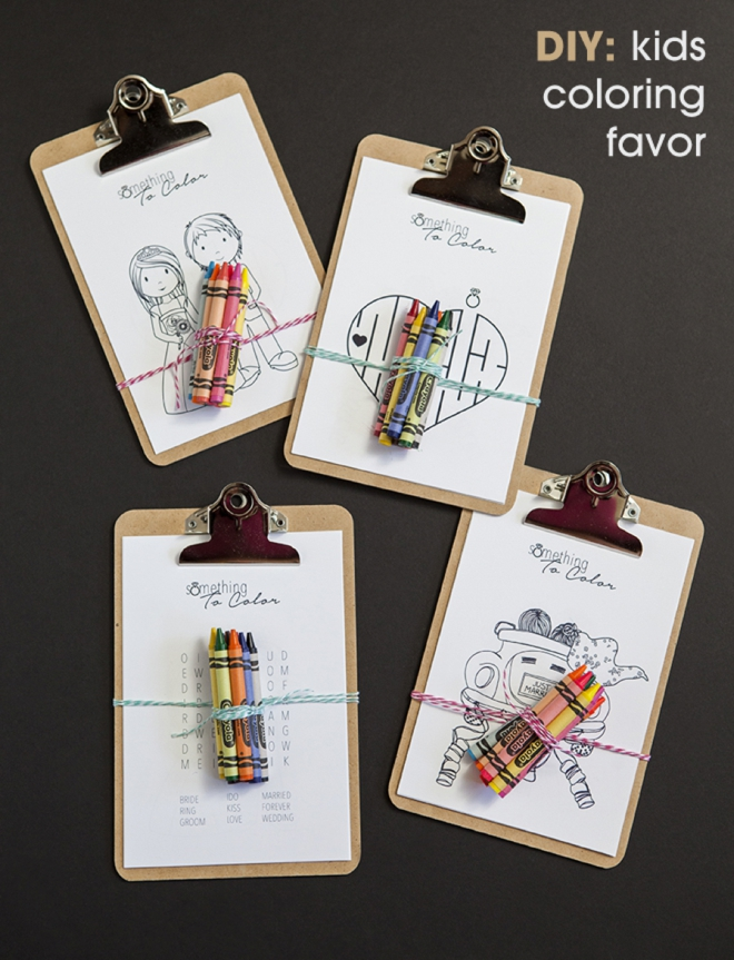 Mini clipboard Coloring Favors for All the Little Ones at Your Wedding.