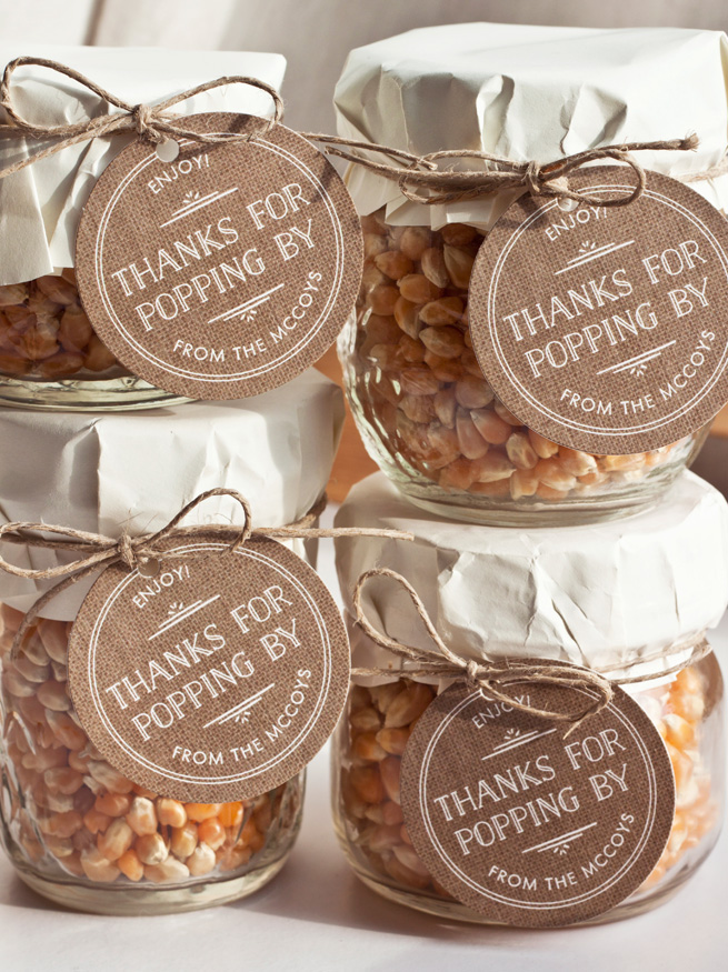 Popcorn Kernels Wedding Favors in a Jar.