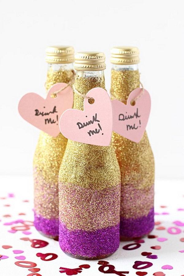 DIY Wedding Mini Glitter Champagne Bottles